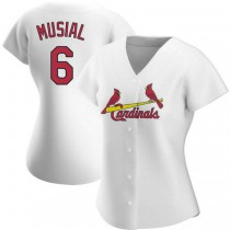 Womens Stan Musial St Louis Cardinals #6 White Home A592 Jersey Authentic