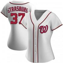Womens Stephen Strasburg Washington Nationals #37 Authentic White Home A592 Jersey