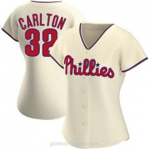 Womens Steve Carlton Philadelphia Phillies #32 Replica Cream Alternate A592 Jersey