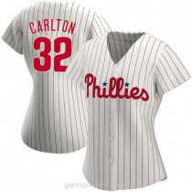 Womens Steve Carlton Philadelphia Phillies #32 Replica White Home A592 Jerseys