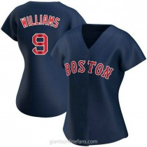 Womens Ted Williams Boston Red Sox #9 Authentic Navy Alternate A592 Jersey