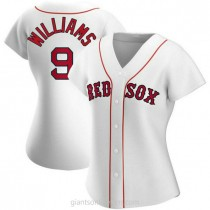 Womens Ted Williams Boston Red Sox #9 Replica White Home A592 Jersey