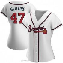 Womens Tom Glavine Atlanta Braves #47 Replica White Home A592 Jersey