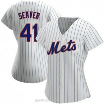 Womens Tom Seaver New York Mets #41 Authentic White Home A592 Jersey