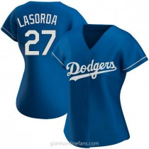 Womens Tommy Lasorda Los Angeles Dodgers #27 Authentic Royal Alternate A592 Jerseys