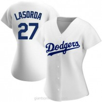 Womens Tommy Lasorda Los Angeles Dodgers #27 Authentic White Home A592 Jersey