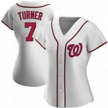 Womens Trea Turner Washington Nationals #7 Replica White Home A592 Jersey