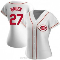Womens Trevor Bauer Cincinnati Reds #27 Replica White Home A592 Jersey