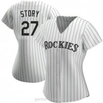 Womens Trevor Story Colorado Rockies #27 Authentic White Home A592 Jersey