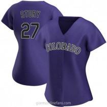 Womens Trevor Story Colorado Rockies #27 Replica Purple Alternate A592 Jersey