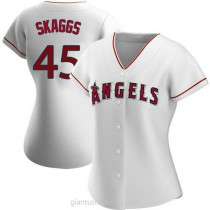 Womens Tyler Skaggs Los Angeles Angels Of Anaheim #45 Authentic White Home A592 Jersey