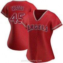 Womens Tyler Skaggs Los Angeles Angels Of Anaheim Authentic Red Alternate A592 Jersey