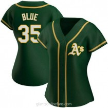 Womens Vida Blue Oakland Athletics #35 Authentic Blue Green Alternate A592 Jersey