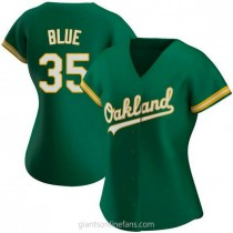 Womens Vida Blue Oakland Athletics #35 Authentic Blue Kelly Green Alternate A592 Jerseys