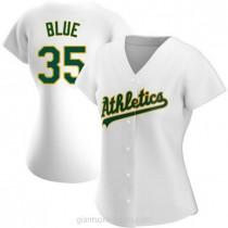 Womens Vida Blue Oakland Athletics #35 Authentic Blue White Home A592 Jerseys