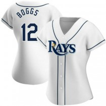 Womens Wade Boggs Tampa Bay Rays #12 Authentic White Home A592 Jersey