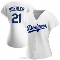 Womens Walker Buehler Los Angeles Dodgers #21 Authentic White Home A592 Jerseys