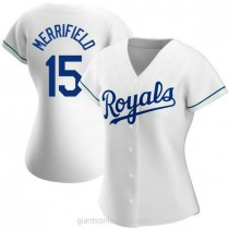 Womens Whit Merrifield Kansas City Royals #15 Authentic White Home A592 Jersey