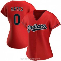 Womens Willie Mays Hayes Cleveland Indians 0 Authentic Red Alternate A592 Jersey