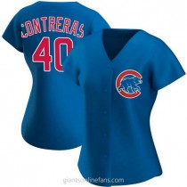 Womens Willson Contreras Chicago Cubs #40 Authentic Royal Alternate A592 Jerseys