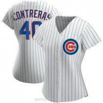 Womens Willson Contreras Chicago Cubs #40 Authentic White Home A592 Jerseys