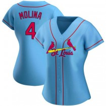 Womens Yadier Molina St Louis Cardinals #4 Light Blue Alternate A592 Jerseys Authentic