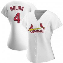 Womens Yadier Molina St Louis Cardinals #4 White Home A592 Jersey Authentic
