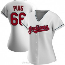 Womens Yasiel Puig Cleveland Indians #66 Authentic White Home A592 Jersey