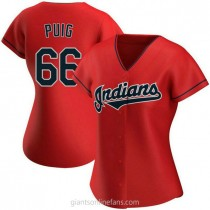 Womens Yasiel Puig Cleveland Indians #66 Replica Red Alternate A592 Jerseys