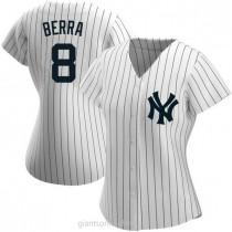 Womens Yogi Berra New York Yankees #8 Replica White Home Name A592 Jersey