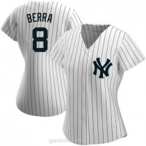 Womens Yogi Berra New York Yankees #8 Replica White Home Name A592 Jerseys