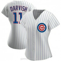 Womens Yu Darvish Chicago Cubs #11 Authentic White Home A592 Jersey