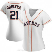 Womens Zack Greinke Houston Astros #21 Authentic White Home A592 Jersey
