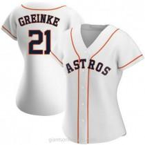 Womens Zack Greinke Houston Astros #21 Replica White Home A592 Jersey