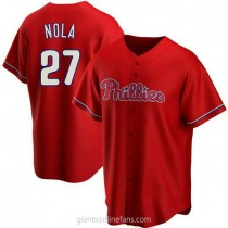 Youth Aaron Nola Philadelphia Phillies #27 Authentic Red Alternate A592 Jersey