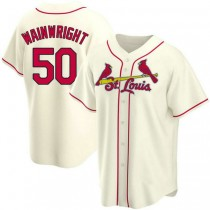 Youth Adam Wainwright St Louis Cardinals #50 Cream Alternate A592 Jersey Authentic