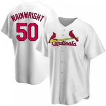 Youth Adam Wainwright St Louis Cardinals #50 White Home A592 Jersey Replica