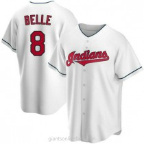 Youth Albert Belle Cleveland Indians #8 Replica White Home A592 Jerseys