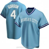 Youth Alex Gordon Kansas City Royals #4 Authentic Light Blue Road Cooperstown Collection A592 Jersey