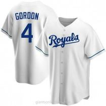 Youth Alex Gordon Kansas City Royals #4 Replica White Home A592 Jersey