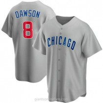Youth Andre Dawson Chicago Cubs #8 Authentic Gray Road A592 Jersey