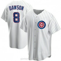 Youth Andre Dawson Chicago Cubs #8 Authentic White Home A592 Jersey