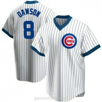 Youth Andre Dawson Chicago Cubs #8 Authentic White Home Cooperstown Collection A592 Jersey