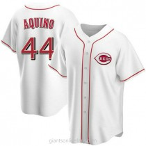 Youth Aristides Aquino Cincinnati Reds #44 Replica White Home A592 Jersey
