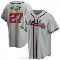 Youth Austin Riley Atlanta Braves #27 Authentic Gray Road A592 Jersey