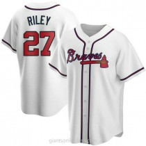 Youth Austin Riley Atlanta Braves #27 Authentic White Home A592 Jersey