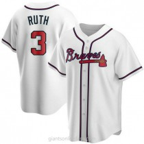Youth Babe Ruth Atlanta Braves #3 Replica White Home A592 Jersey