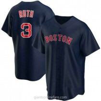 Youth Babe Ruth Boston Red Sox #3 Authentic Navy Alternate A592 Jerseys
