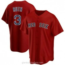 Youth Babe Ruth Boston Red Sox #3 Authentic Red Alternate A592 Jersey