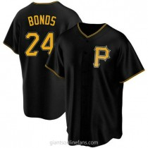 Youth Barry Bonds Pittsburgh Pirates #24 Authentic Black Alternate A592 Jersey